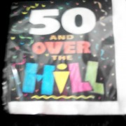 50th birthday party napkins, 50 and over the hill serviettes