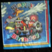 fire engine party napkins, boys birthday tableware supplies