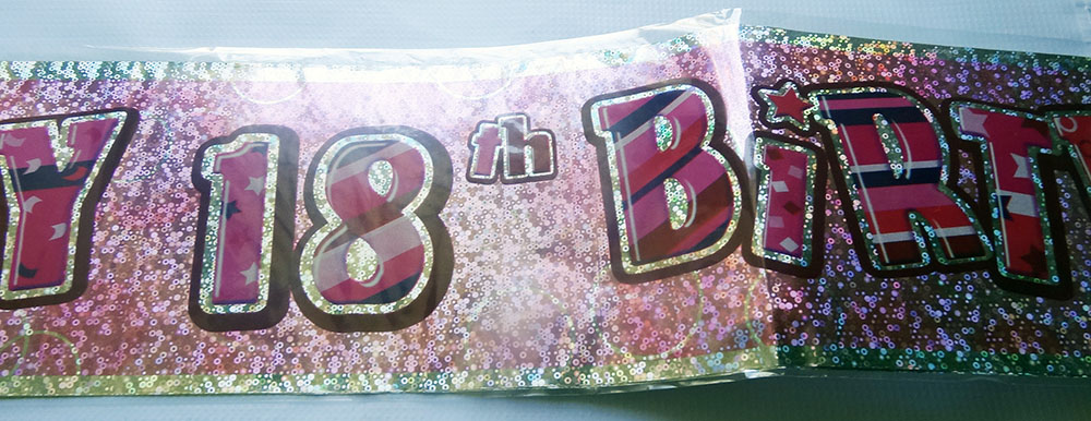 18th glitz birthday banner party decorations pink blue black silver