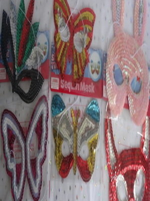sequin costume mask, fancy dress accessory butterfly