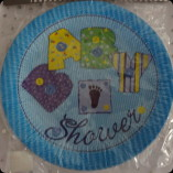 blue baby shower plates, boys table ware