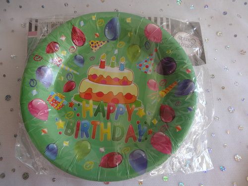 unisex party plates, birthday tableware