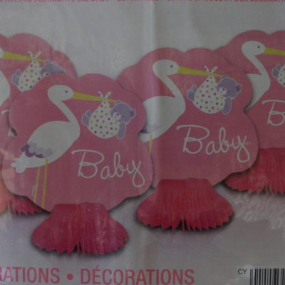 Pink stork table decorations, girls baby shower honeycomb centrepeice