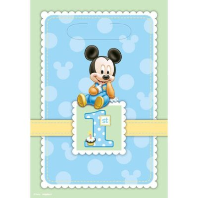 Mickey mouse 1st party bags, blue birthday guest favours